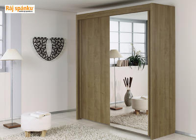 Skříň s pos. dveřmi 2 dvéřová, v-223 cm | š-181 cm | 1 zrcadlo + 1 dekor | buk světlý - 1