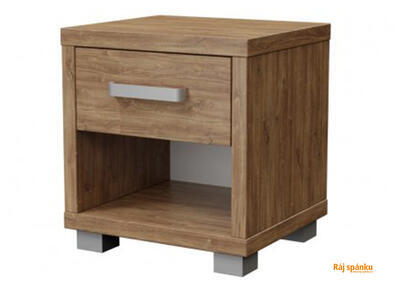 Ikaros Noční stolek 1 zásuvka, Bílé dřevo | 40 cm - 1