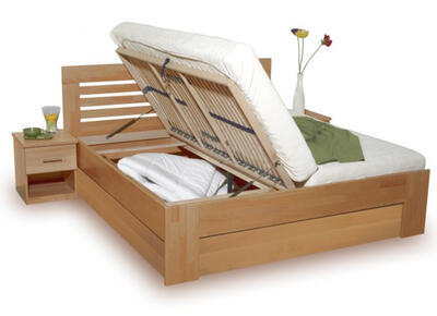 Leona postel s úložným prostorem, 160x200 | buk 96 tabák - 1