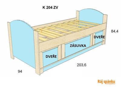 Bořek postel s úl. prostory, 90 x200  olše | modrá sv. - 1