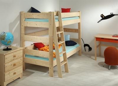Sendy - patrová postel přírodní - 2