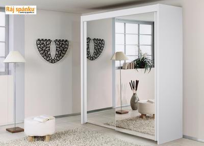 Skříň s pos. dveřmi 2 dvéřová, v-235 cm |š- 201 cm | 1 zrcadlo + 1 celolesk bílá | alpínská bílá - 2