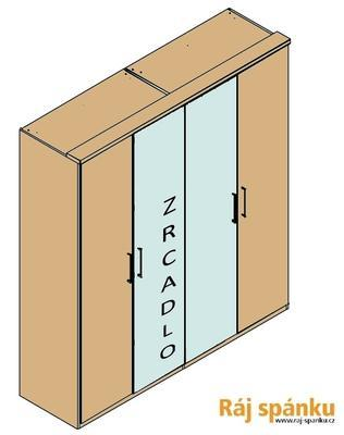 Šatní skříň 200 s římsou - 2