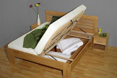Leona postel s úložným prostorem, 160x200 | buk 82 americká třešeň - 2