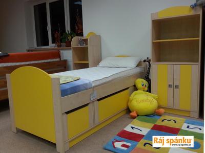 Bořek postel s úl. prostory, 90 x200  borovice | žlutá - 2