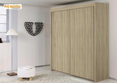 Skříň s pos. dveřmi 2 dvéřová, v-223 cm | š-181 cm | 1 zrcadlo + 1 dekor | buk světlý - 3