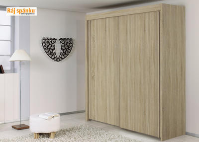 Skříň s pos. dveřmi 2 dvéřová, v-235 cm |š- 201 cm | 1 zrcadlo + 1 celolesk bílá | alpínská bílá - 3