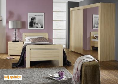 Skříň s pos. dveřmi 2 dvéřová, v-223 cm | š-181 cm | 1 zrcadlo + 1 dekor | buk světlý - 4