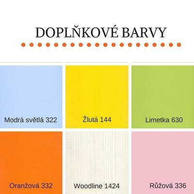 Bořek postel s úl. prostory, 90 x200  borovice | žlutá - 4