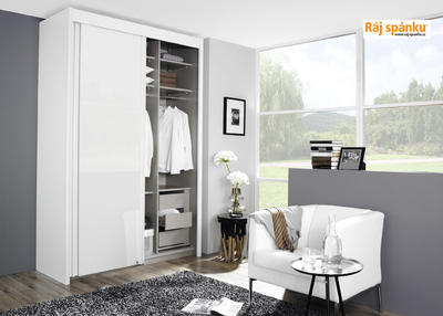 Skříň s pos. dveřmi 2 dvéřová, v-223 cm | š-181 cm | 1 zrcadlo + 1 celolesk bílá | sanremo - 5