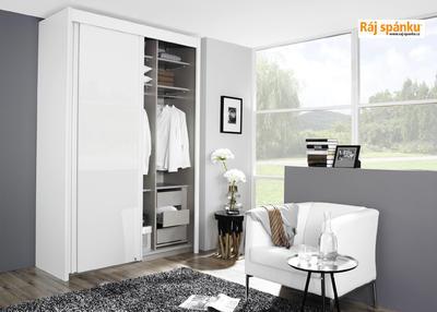 Skříň s pos. dveřmi 2 dvéřová, v-235 cm | š-151 cm | 1 zrcadlo + 1 dekor | alpínská bílá - 5