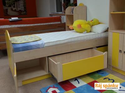 Bořek postel s úl. prostory, 90 x200  borovice | žlutá - 5