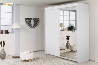 Skříň s pos. dveřmi 2 dvéřová, v-235 cm |š- 201 cm | 1 zrcadlo + 1 celolesk bílá | alpínská bílá - 7